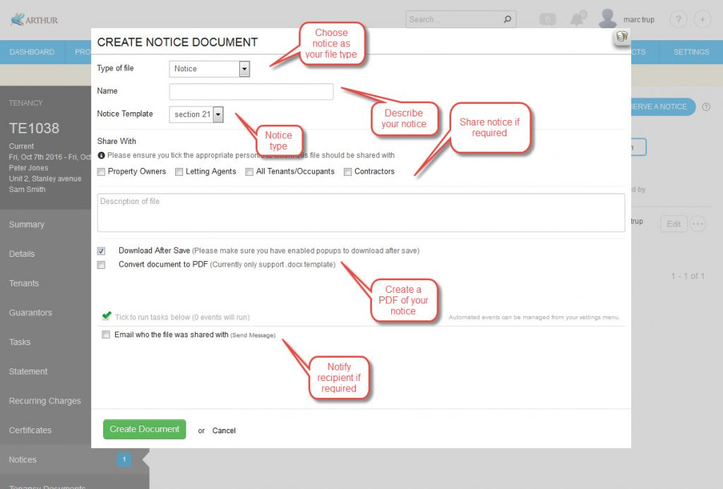Using Mailmerge to Create Notices - Arthur - mail merge template