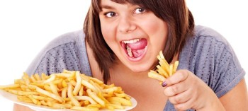 Large girl with french fries