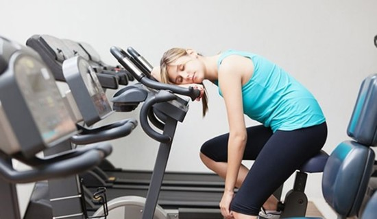 sleeping on exercise equipment