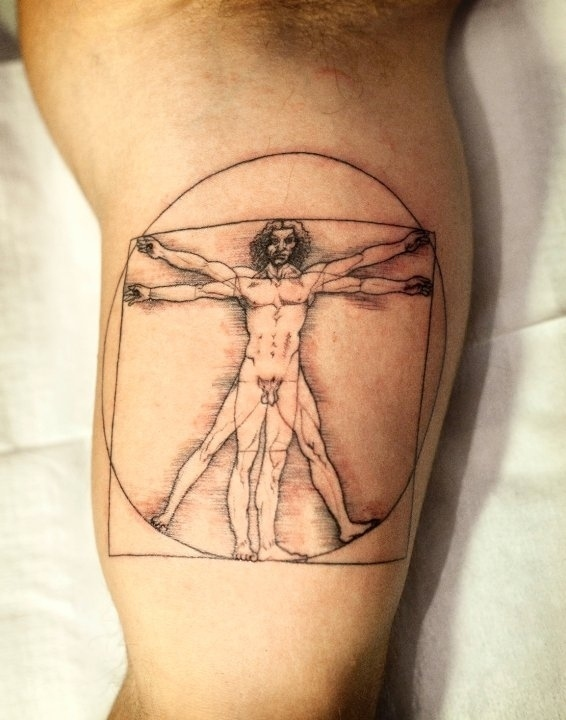 tattoo, Vitruvian Man, guy in circle
