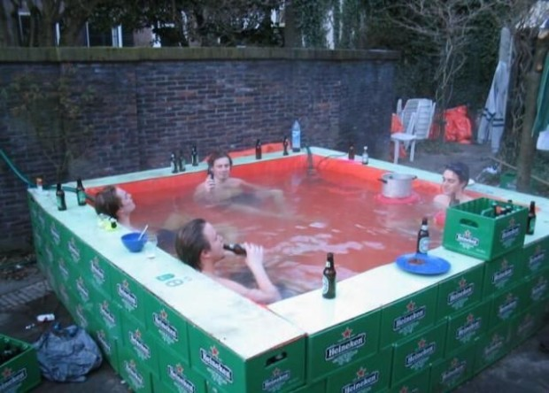beer crate hot tub