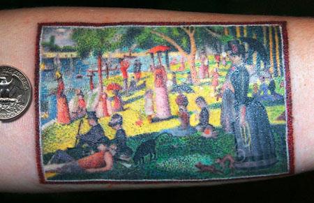 tattoo, Sunday Afternoon, pointillism