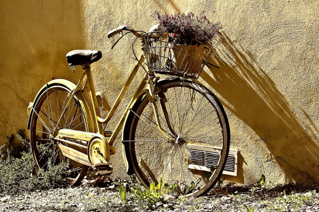 bicycle routes: yellow bicycle leaning against stucco wall, lavender in the front basket