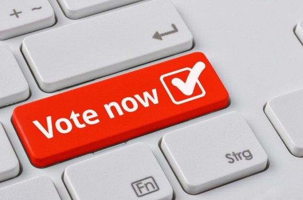 future of politcs: red 'vote now' button