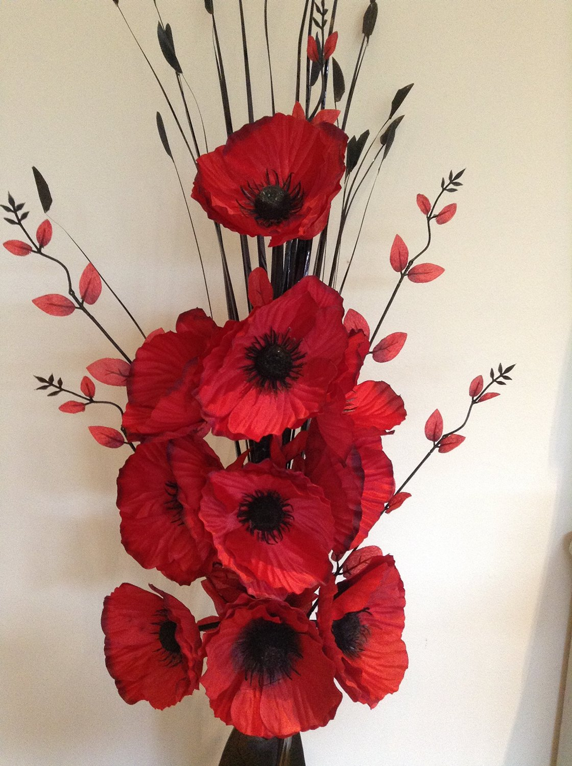 Beautiful red artificial poppies flower arrangement with