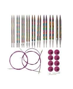 Kit d'aiguilles circulaires interchangeable Rainbow Wood de Knit Picks