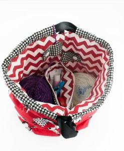 Sac à tricot avec pochette de rangement - Moutons et zigzag (intérieur)