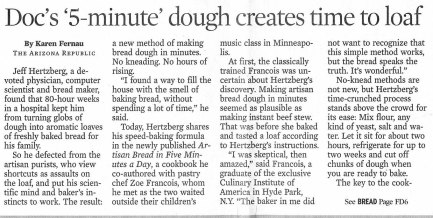 Arizona Republic review of Artisan Bread in Five, 3-19-2008