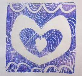 Gelli Print Hearts