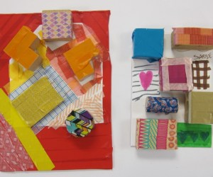 Patterned Tape and Wood Block Sculptures (9)