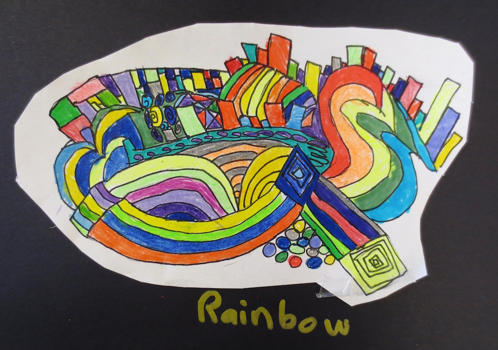 Color Theory and Rhythm Drawings by 3rd Grade
