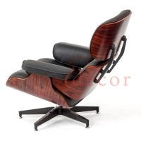 Rosewood Lounge chair and ottoman Black Leather Replica ...