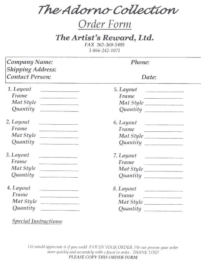 The Artist\u0027s Reward Photographers Order Form