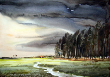 Storm Watercolor On Paper Samiran Sarkar