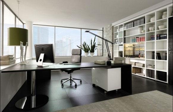 Home office de grandes ambientes de todos os tipos de acabamento
