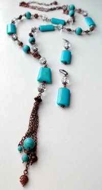 Jewelry set. long necklace earrings. turquoise ...