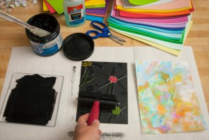 roll the ink onto the surface of the foam design on the collagraph plate