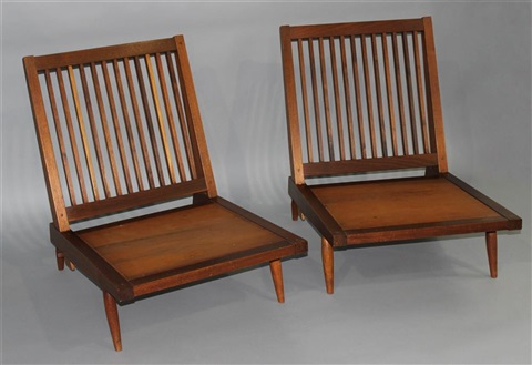 Pair Of Black Walnut Spindle Back Armless Lounge Chairs
