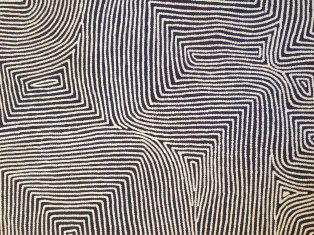 Warlimpirrnga Tjapaltjarri, 'Kalparti' (detail), 2003, synthetic polymer paint on canvas. The Scholl Collection.