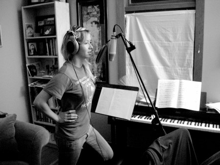 anna singing in the studio