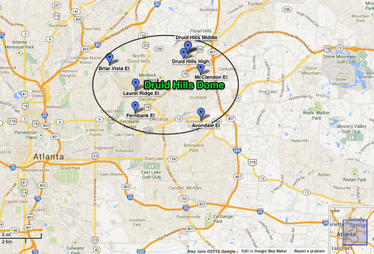 Location of Schools in the Druid Hills Charter Cluster.  View as a larger map.