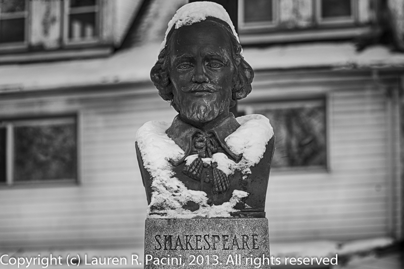 Bust of William Shakespeare (1564 - 1616) in British Garden