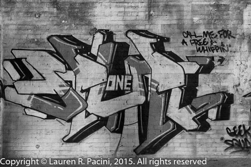 Graffiti inside Leisy Brewery 1917 building.