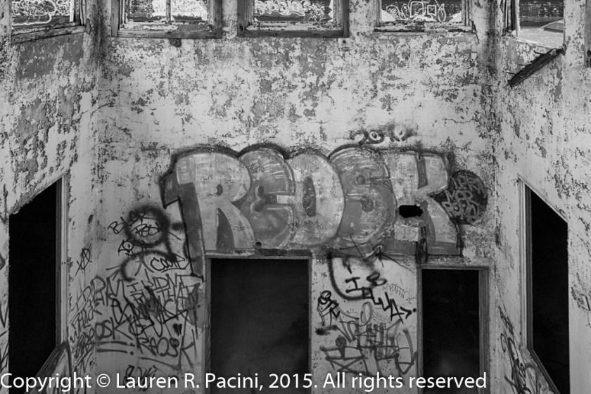 Graffiti inside light shaft.