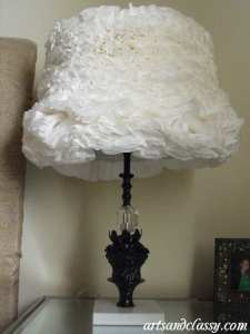 Table Lamp Coffee Filter Ruffled  Vintage  Makeover