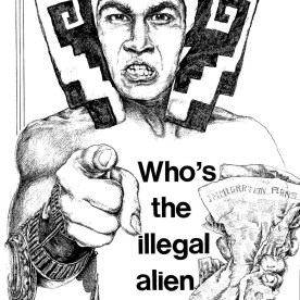 A poster making a connection between Pilgrims and Ilegal Aliens