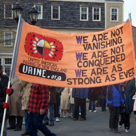 Protestors at Plymouth Rock