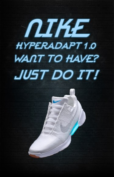 Student work - lighting effect on text and shoe, subtle lighting on background