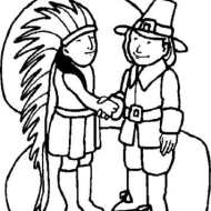 The traditional depiction of 'Indians and Pilgrims'.