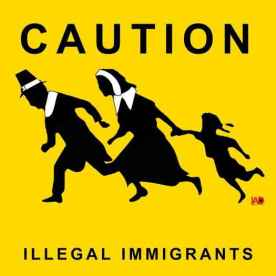 Poster making a connection between Pilgrims and Illegal Aliens.