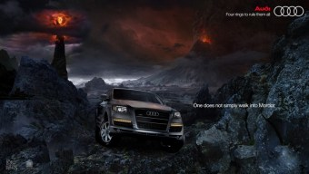 Dramatic lighting on car emphasizes the darkness and relationship to message (lord or the rings).