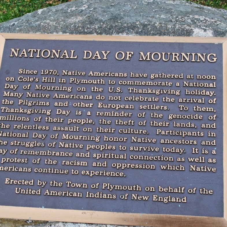 Plaque commemorating Thanksgiving as a Day of Mourning