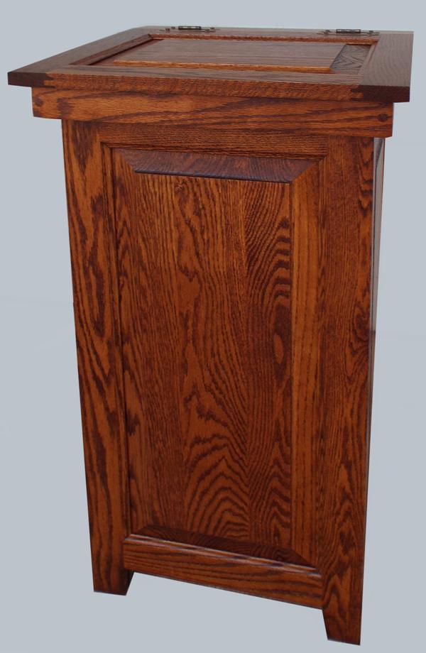 Wood Kitchen Economy Trash Can Amish Oak Hinge Top 30 Gal