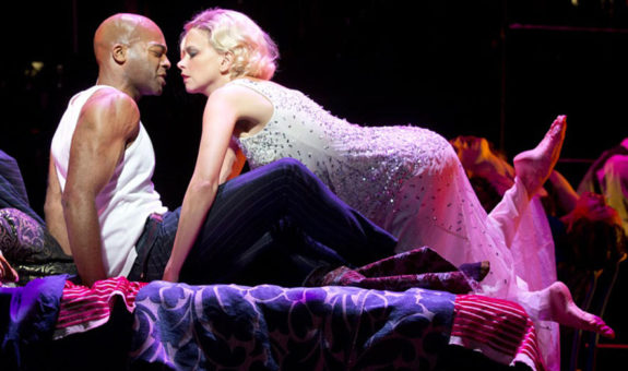 Brandon Victor Dixon as Black and Sutton Foster as Queenie in Andrew Lippa's The Wild Party at Encores! Off Center (photo by Joan Marcus)