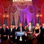 In this March 15, 2016, photo, Republican presidential candidate Donald Trump speaks to supporters at his primary election night event at his Mar-a-Lago Club in Palm Beach, Fla. Trump's business ventures are never far from his mind and have been playing an increasingly prominent role in his presidential campaign. In recent weeks, Trump has held election night parties at three of his Florida properties: golf clubs in Jupiter and West Palm Beach, Florida, and twice at his sprawling Mar-a-Lago club and estate nearby. (AP Photo/Gerald Herbert)