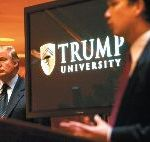 Donald Trump with Michael Sexton, the president of Trump University, at the announcement of its founding, New York City, May 2005