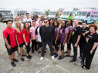 Host Tyler Florence posing from left to right with Team Fortune Cooking, Team Grilled Cheese All Stars, Team MIGMISTA's, Team Lei Away Leidies, Team Sweet Southern Soul, Team Carretto Siciliano at the Catalina View Gardens located in Palos Verdes, CA., as seen on Food Network's The Great Food Truck Race Season 7.