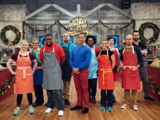 Host Bobby Deen with Contestants Patti Curfman, Cheryl Storms, Maddie Carlos, Vincenzo Vaccaro, Shawne Bryan, Keli Fayard, Amber Croom, Matt Moratto and Jason Smith, as seen on Holiday Baking Championship, Season 3. (Photo courtesy of the Food Network)
