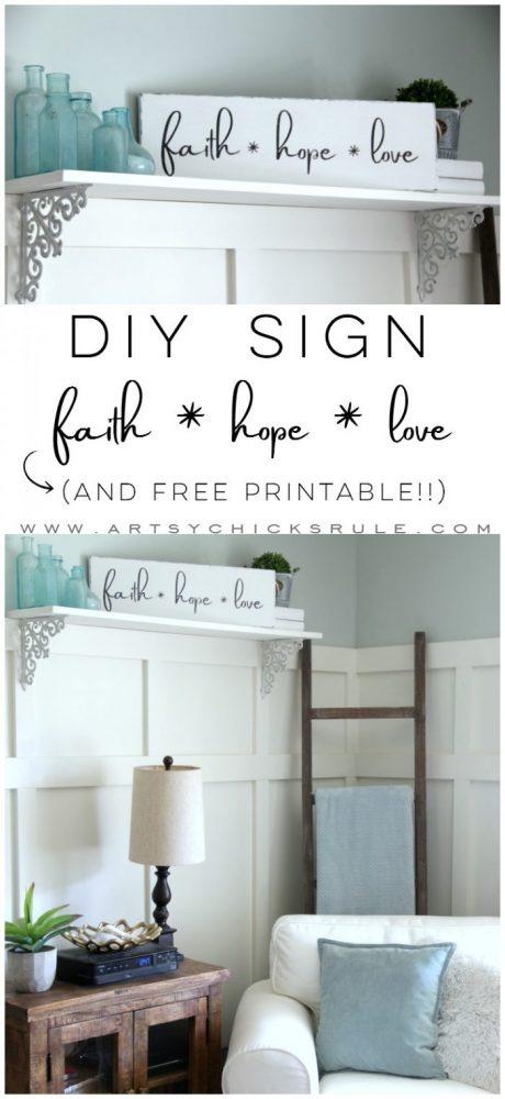 DIY Faith Hope Love Sign (and FREE printable!) - Artsy Chicks Rule®