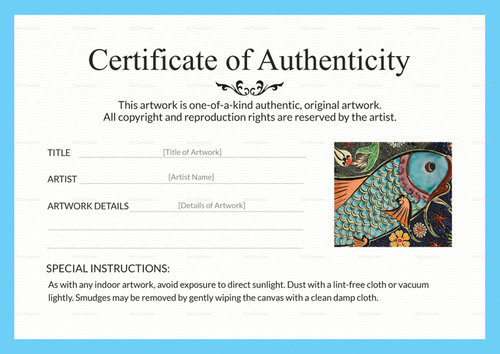 Certificates of Authenticity Artsy Shark - certificate of authenticity template