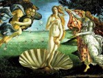 "Sandro Boticelli, ""The Birth of Venus,"" c. 1485-86, 9 feet 2 inches by 5 feet 9 inches.  Uffizi Gallery, Florence."