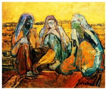 """Gossip"" oil on canvas, 20 x 26.5 inches, Kristin Saleri."
