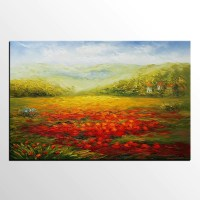Poppy Field Painting, Landscape Painting, Large Art ...