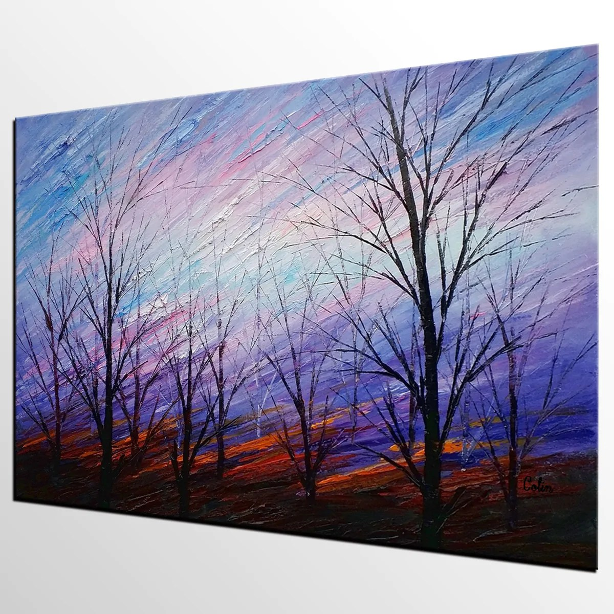 Abstract Art, Colorful Sky Painting, Oil Painting