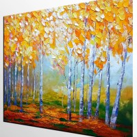 Birch Tree Painting, Abstract Landscape Art, Living Room ...