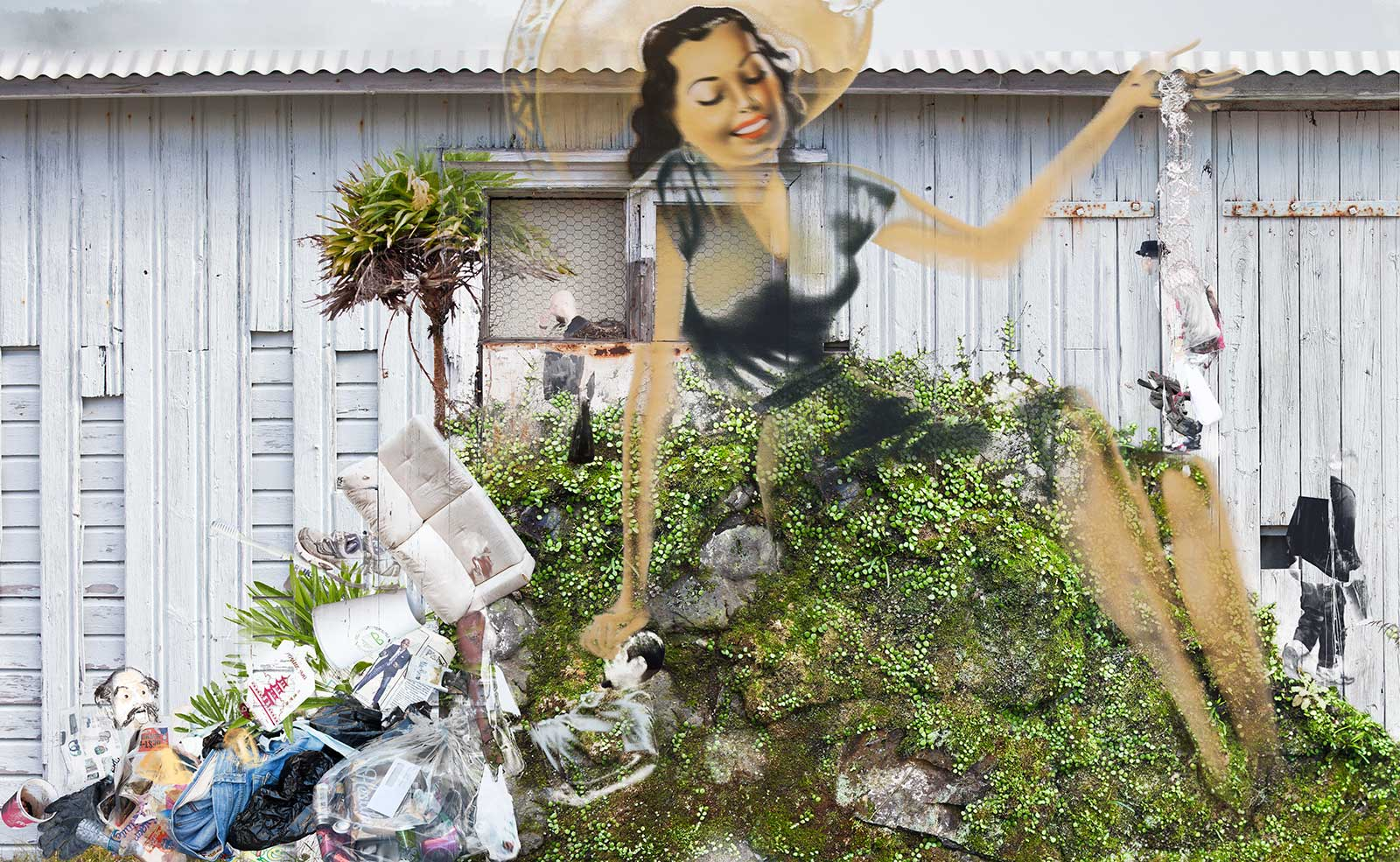 woman on hill with trash